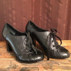 Steve Madden, Black Leather Lace Up High Heels, 8